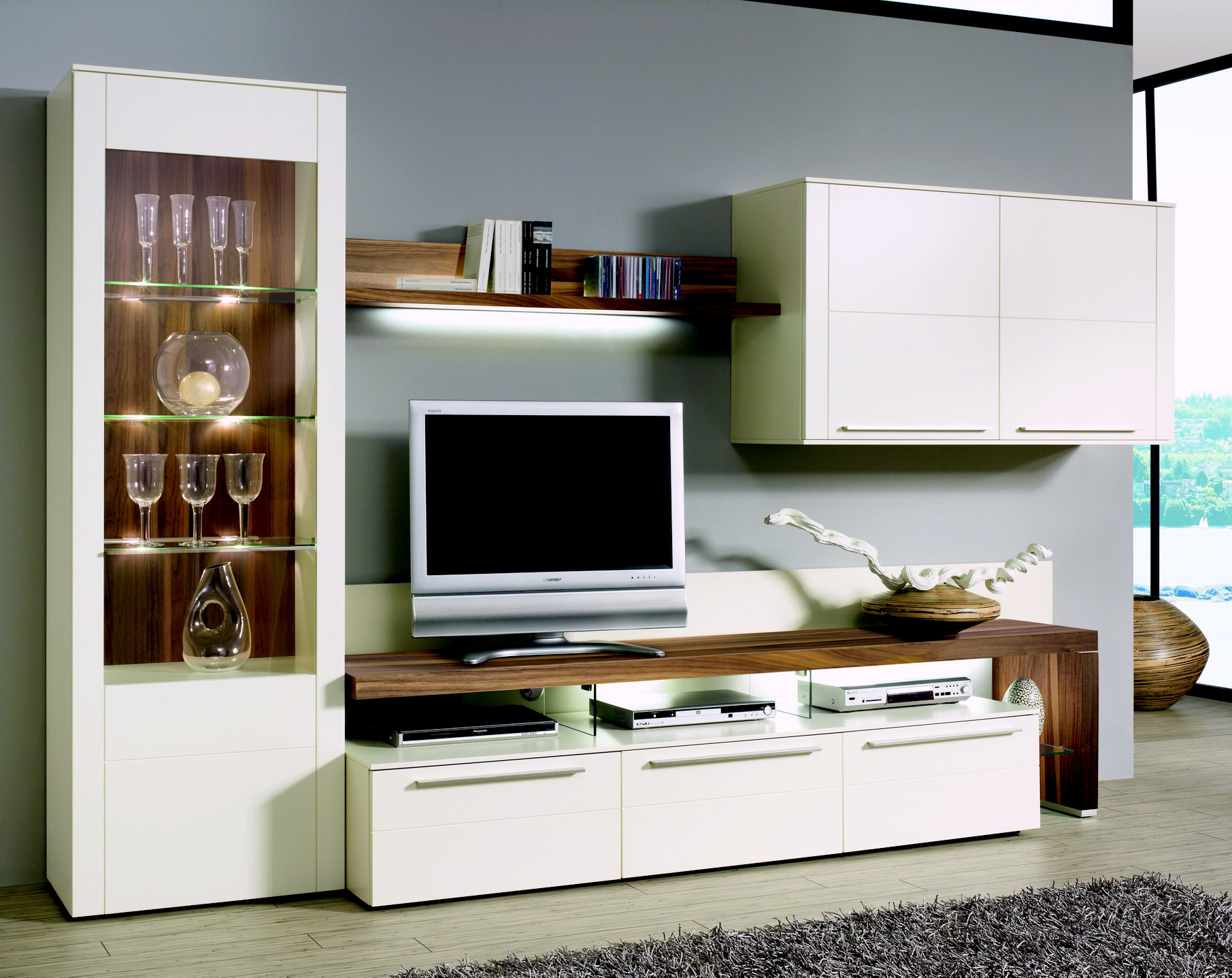 gwinner wohnwand bellano be01 weiss g nstig. Black Bedroom Furniture Sets. Home Design Ideas